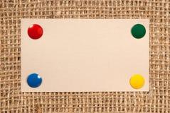 Documento sobre una lona Imagen de archivo libre de regalías