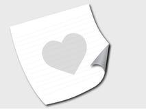 Documento su un pavimento con cuore Fotografia Stock Libera da Diritti