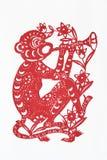 Documento-taglio cinese dello zodiaco (scimmia) Fotografie Stock Libere da Diritti