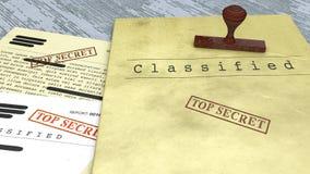 Documento top-secret, bollo, declassificato, informazione confidenziale, testo segreto Informazioni non pubbliche Fotografia Stock Libera da Diritti