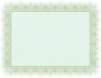 Documento verde del certificato Fotografia Stock