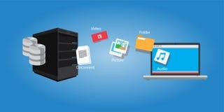 Documento y medios de la copia de la transferencia de archivos Imagen de archivo