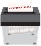 Documentos confidenciales en la trituradora stock de ilustración