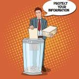 Documentos de Art Businessman Shredding Secret Paper del estallido libre illustration