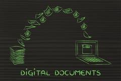 Documentos de Digitaces: papel de la exploración y torneado de él en datos Imágenes de archivo libres de regalías