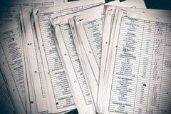 Documentos de extensión de la contabilidad financiera Imagen de archivo libre de regalías