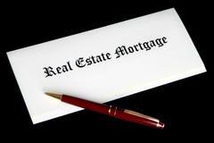 Documentos de la hipoteca de propiedades inmobiliarias foto de archivo