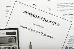 Documentos del cambio de la pensión Foto de archivo libre de regalías