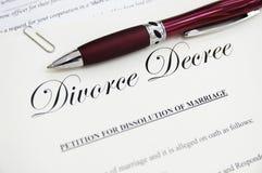 Documentos del divorcio Fotografía de archivo libre de regalías
