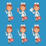 Documentos del termómetro de la tableta del doctor Holds Suitcase Syringe de la mujer Fotos de archivo libres de regalías