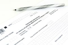 Documentos do russo Formulário e pena de declaração de rendimentos 3-NDFL fotos de stock
