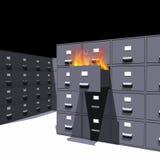 Documentos en el fuego (3D) Fotos de archivo libres de regalías