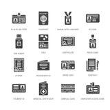 Documentos, iconos planos del glyph del vector de la identidad Tarjetas de la identificación, pasaporte, paso del estudiante del  ilustración del vector