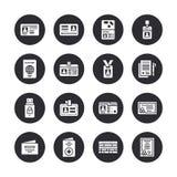 Documentos, iconos planos del glyph del vector de la identidad Tarjetas de la identificación, pasaporte, paso del estudiante del  stock de ilustración