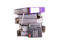 Documentos y carpetas de la calculadora imagenes de archivo