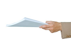 Documents. Businessman giving documents for review Royalty Free Stock Photography