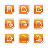 Documents 2 web icons. Vector web icons, orange glossy sticker series, V2 Royalty Free Stock Photos