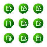 Documents 2 web icons. Vector web icons, green sticker series icon set Royalty Free Stock Photos