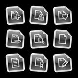 Documents 2 web icons. Vector web icons, black glossy stickers series Royalty Free Stock Photography