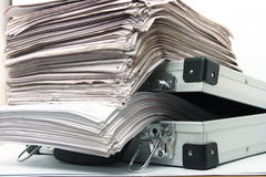 Documents. Stack of documents in briefcase Stock Images