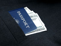 Documents. Travel documents in a pocket of a suit Stock Image