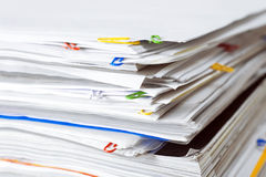 Documents. Heap with color clips stock photos