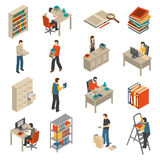 Documents Archive Library Isometric Icons Set. Historical documents manuscripts and publications storage library archive catalog helves isometric icons set vector illustration