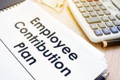 Documents avec le plan de contribution des employés de titre photos stock
