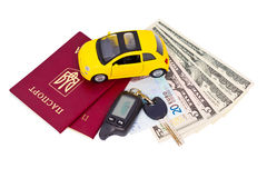 Documents and belongings to travel by car Royalty Free Stock Images
