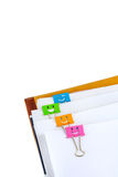 Documents with binder clips Stock Images