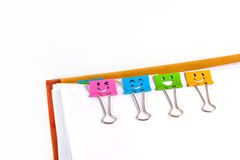 Documents with binder clips Stock Photo