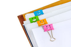 Documents with binder clips Stock Photography