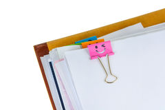 Documents with binder clips Royalty Free Stock Photo