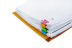 Documents with binder clips Royalty Free Stock Images