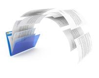 Documents from blue folder. Uploading documents from blue folder. 3d illustration Stock Image