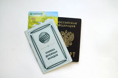 Documents: Book of money deposits, credit card and Russian passp Royalty Free Stock Photography