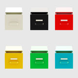 Documents and bureaucracy: drawers isolated. Documents and bureaucracy: six kinds of drawers isolated on grey Royalty Free Stock Photo