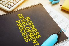 Documents about Business development process. Documents about Business development process on a desk Stock Image