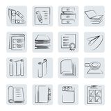 Documents buttons. Set of 16 office and documents buttons in sketch style Stock Photos