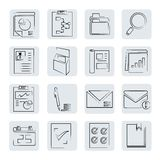 Documents buttons. Set of 16 office and documents buttons in sketch style Royalty Free Stock Photos