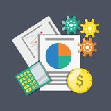 Documents calculator and coins investment concept. Vector illustration Stock Image