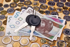 Documents car keys and money Stock Photography