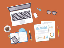 Documents with charts, graphs, leptop, notebook. Analysis, report, accounting Stock Photos