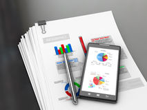 Documents with charts and graphs on the office desk. 3D illustration Stock Image