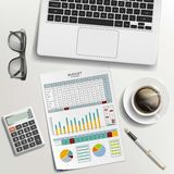Documents, coffee and laptop on the desk. Paper work on budget p. Lanning. Stock  illustration. Workplace of a businessman Stock Image