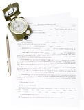 Documents with compass Royalty Free Stock Images