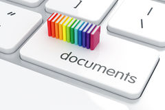 Documents concept. 3d render of colorful folders on the computer keyboard. Documents concept Royalty Free Stock Photo