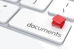 Documents concept. 3d render of folders heap on the computer keyboard. Documents concept Stock Photography