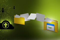 Documents copying one file to another. In color background Stock Photography