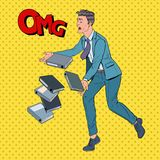 Documents d'Art Careless Businessman Dropping Folder de bruit Employé de bureau avec des fichiers papier Illustration Libre de Droits